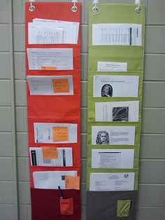 I like displaying past handouts this way so that students don't have to dig through a binder or a stack of papers.