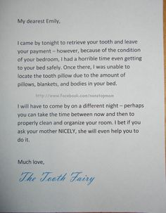 The Tooth Fairy letter to Emily