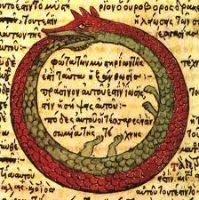The Ouroboros or Uroborus is an ancient symbol depicting a serpent or dragon eating its own tail.  The Ouroboros often represents self-reflexivity or cyclicality, especially in the sense of something constantly re-creating itself, the eternal return, and other things perceived as cycles that begin anew as soon as they end (compare with phoenix).
