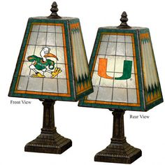 "Miami Hurricanes Glass Table 14"" Lamp  need this for my office!"