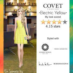 Electric Yellow @covetfashion  #covetfashion #covet #GemmaRedux #BCBGMAXAZRIA #FrenchConnection #NicoleMiller