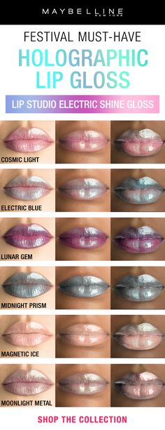Maybelline has the new must-have holographic makeup product for festival season: Lip Studio Electric Shine Prismatic Lip Gloss. This high shine lip gloss delivers iridescent shine for a multi-dimensional lip look and is available in a range of shiny shades from blue and purple to white and silver.