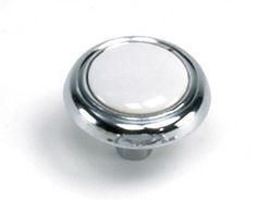 Laurey Cabinet Knobs, 1 1/4 inches Knob - Chrome & White