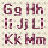 Cross stitch alphabet and number. — Vetor de Stock #76602193