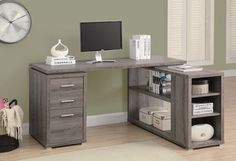 Monarch Specialties 7319 Corner Desk in Dark Taupe - traditional - furniture - Beyond Stores
