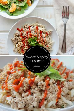 Sriracha Sesame Udon Noodles with Ground Turkey