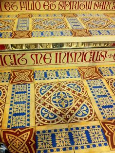 Pugin tiles whose elements would work well on vestments.