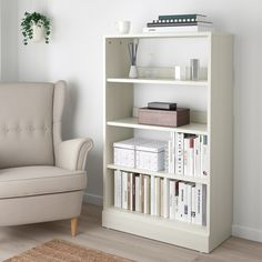 IKEA HAVSTA shelving unit with plinth Made of wood from sustainable sources. Cube Storage, Hidden Storage, Scandinavian Furniture, Scandinavian Design, Solid Pine, Solid Wood, Wood Bookshelves, Simple Bookshelf, Book Shelves