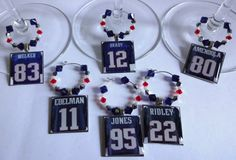 New+England+Patriots+Wine+Charm+Set+by+TaylenandKatie+on+Etsy,+$42.50