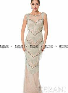 Vestido de Festa Red Carpet Longo com Franjas, Bordados e Illusion Terani 1611GL0474A