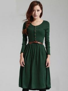 Vintage Style Front Button Long Sleeve Dress in Deep Green and Black