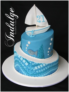 i love the cool & relaxing colors used & the mosaic base of the cake. Nautical Mosaic cake based on a design by Rouvelee creations and a technique published by Lindy Smith