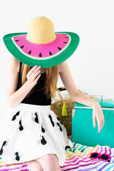 Add some fun color to your summer look with this DIY watermelon floppy hat tutorial.