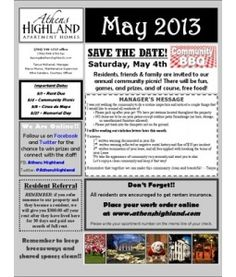 May 2017 Newsletter Athens Highland