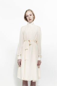 RYAN ROCHE, Silk High Neck Long Sleeve Dress, Nude |