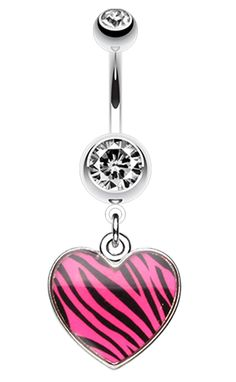 Zebra Pattern Heart Belly Button Ring