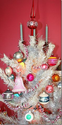 Aluminum Christmas tree with vintage glass and retro ornaments