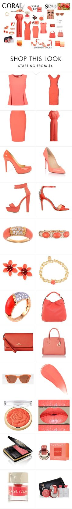 """Coral Fantasy"" by perezbarrios on Polyvore featuring Diane Von Furstenberg, Twin-Set, Elizabeth and James, VILA, Christian Louboutin, Charlotte Russe, Badgley Mischka, Van Cleef & Arpels, Verdi and OSCAR Bijoux"