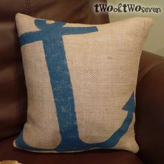 Burlap Anchor Pillow - I want this, except with a robin egg blue anchor