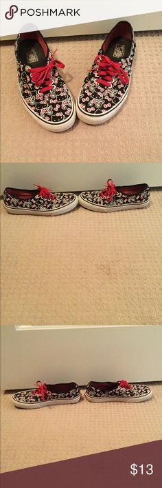 *REPOSH* Hello Kitty Vans 9 1/2 used too small *REPOSH* Hello Kitty black/red/white vans. Purchased from another posher used but in good condition see all pics. I wore a few times but unfortunately they hurt my feet I need a 10 ☹️ Vans Shoes Sneakers