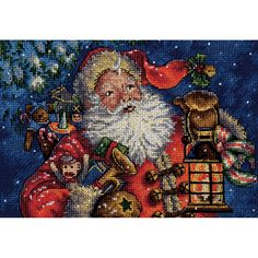DIMENSIONS-The Gold Collection: Counted Cross Stitch. The Gold Collection Kits are wonderfully detailed with full and half cross stitches. Kit includes: 18 count navy Aida; presorted thread; needle; and easy instructions. Design: Nighttime Santa.