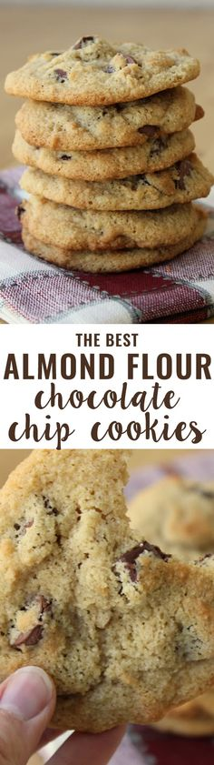 Flour Chocolate Chip Cookies (Grain-Free) An all-time favorite recipe! Crispy on the outside, soft on the inside and slightly buttery. People tell me all the time they prefer these cookies to their traditional cookie recipes.Inside Inside may refer to: Low Carb Sweets, Low Carb Desserts, Healthy Sweets, Gluten Free Desserts, Healthy Baking, Low Carb Recipes, Paleo Recipes, Diabetic Desserts, Free Recipes