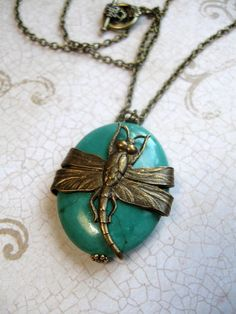 Long Dragonfly Necklace  turquoise stone  nature by botanicalbird