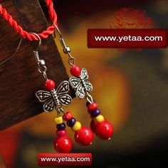 Tibet Red Corallite and Wooden Beads Pendant Earrings Preview