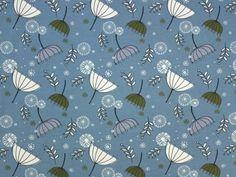 Baumwolljersey fliegende Löwenzahnschirmchen, stahlblau