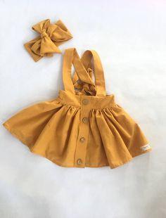 Mustard Dress, Matching Bow, Toddler Dress