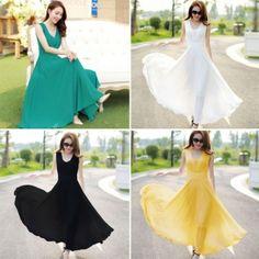 Women Fashion Elegant Chiffon V Neck Sleeveless Tank High Waist Frilly Solid A-Line Long Dress