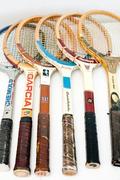 Vintage Tennis Rackets // Five Available by BrightWallVintage Interesting Things, Game Rooms, De Eleição, Vintage Tennis, Tennis Racket, Classic Tennis, Ss15 Inspiration, Sports Stuff, Tennis Mania