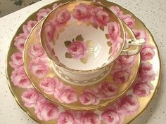 Antique pink roses tea cup trio, vintage Royal Chelsea pink and gold tea cup saucer plate set, English tea set, bone china tea cup set by natalie-w