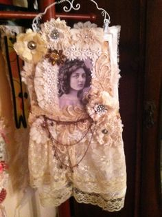 Vintage lace wall hanging