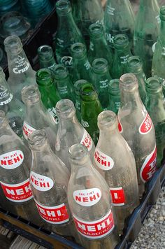 #soda #bottles We have hundreds available at our flea market, right now! I love the look of the vintage print and designs! :)