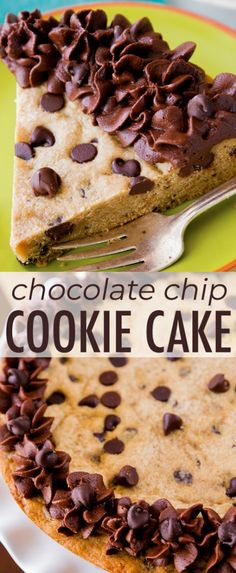 My favorite way to eat a chocolate chip cookie – when it's the size of a cake! Decorate with frosting, slice, and serve. Recipe on sallysbakingaddic… Köstliche Desserts, Delicious Desserts, Dessert Recipes, Galletas Cookies, Cake Cookies, Homemade Chocolate, Chocolate Recipes, Desserts With Chocolate Chips, Chocolate Chocolate