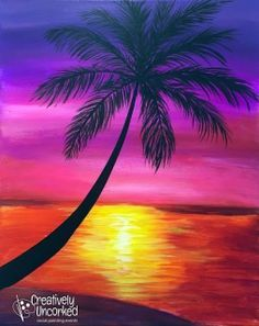 Sunset And Palm Tree Painting Painting Pinterest Silhouette