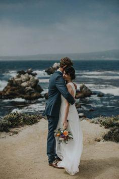 Stunning waterfront wedding portrait by Keely Montoya