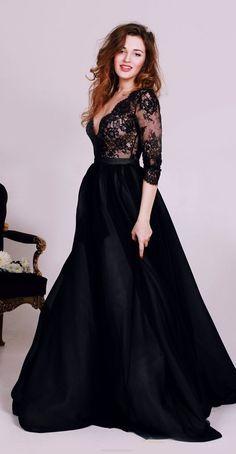 Long Prom Dresses 2017, Prom Dresses 2017, Black Prom Dresses, Long Sleeve Prom Dresses, Long Prom Dresses, Black Long Prom Dresses, Prom Dresses Black, 2017 Prom Dresses, Long Sleeve Dresses, Long Black dresses, Deep V-Neck Prom Dresses, Black Deep V-Neck Evening Dresses, Black Dress 2017 Long Prom Dress Long Sleeve A-line Prom Dress/Evening Dress