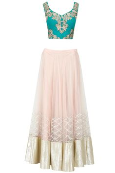 Beige and green embroidered lehenga set available only at Pernia's Pop-Up Shop.