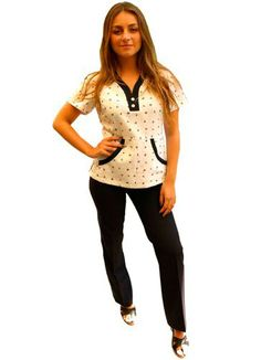 Short Tops, Cotton Shorts, Polka Dot Top, Scrubs, Cute, Women, Fashion, Nursing Outfits, Nurse Practitioner