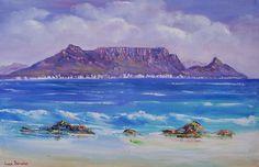 Landscape Art, Landscape Paintings, Oil Paintings, African Art Paintings, South African Artists, Table Mountain, Mountain Paintings, Love Painting, Mosaic Art