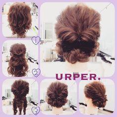 作り方:)全体をゆる巻き。耳上をくるりんぱ。その毛束と耳下を半分に分けたものをゆるく三つ編み。それぞれを根元にむかってくるっとまとめる。全体をゆるく引き出してバランス整えたら完成☆ #hair #hairstyle #hairarrange #hairset #partyhair #ヘアアレンジ #アレンジ #ヘアセット #アップ #パーティヘア #ヘア #結婚式 #2次会 #ブライダル #ドレス #髪型 #おでかけ #着物 #振袖 #成人式 #卒業式 #浴衣 #やり方