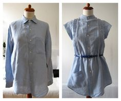 Of Dreams and Seams: Linen Remake - with tutorial / how-to! A regular manshirt converted to a pintuck.