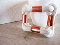 Handmade square bracelet of  cotton rope in by JewelryNeshElly, $18.00