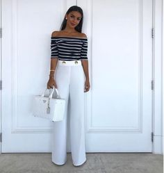 Trendy Wide Leg Palazzo Pants Outfit 33 Visit the post for more. Classy Outfits, Chic Outfits, Fashion Outfits, Womens Fashion, Fall Outfits, Summer Outfits, Stylish Office Wear, Marlene Hose, Mein Style