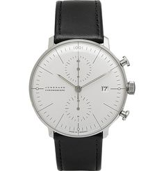 JunghansMax Bill Stainless Steel and Leather Chronoscope Watch
