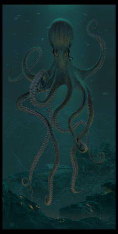 Octopus Painting, Octopus Art, Ocean Creatures, Mythical Creatures, Octopus Pictures, Kraken Art, Boat Drawing, Sea Monsters, Tatoo