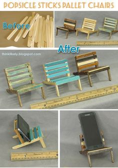 popsicle stick crafts mini pallet chair e. Craft Stick Projects, Diy Popsicle Stick Crafts, Popsicle Sticks, Art Projects, Crafts To Make And Sell, Diy And Crafts, Yarn Crafts, Diy Phone Stand, Sticks Furniture