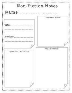 Nonfiction Stick Notes, Nonfiction Graphic Organizer